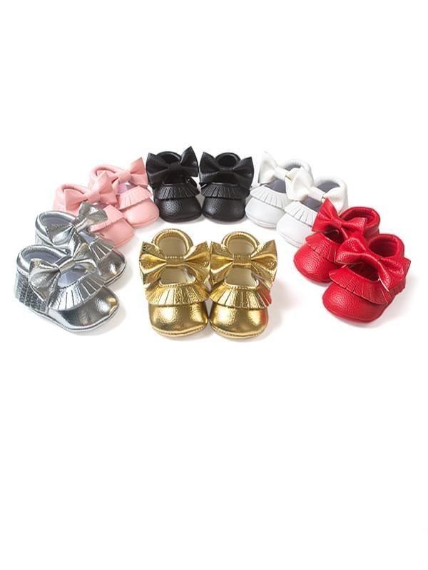 Bow Knot Tassel Trim Pre-Walker Shoes In 2020