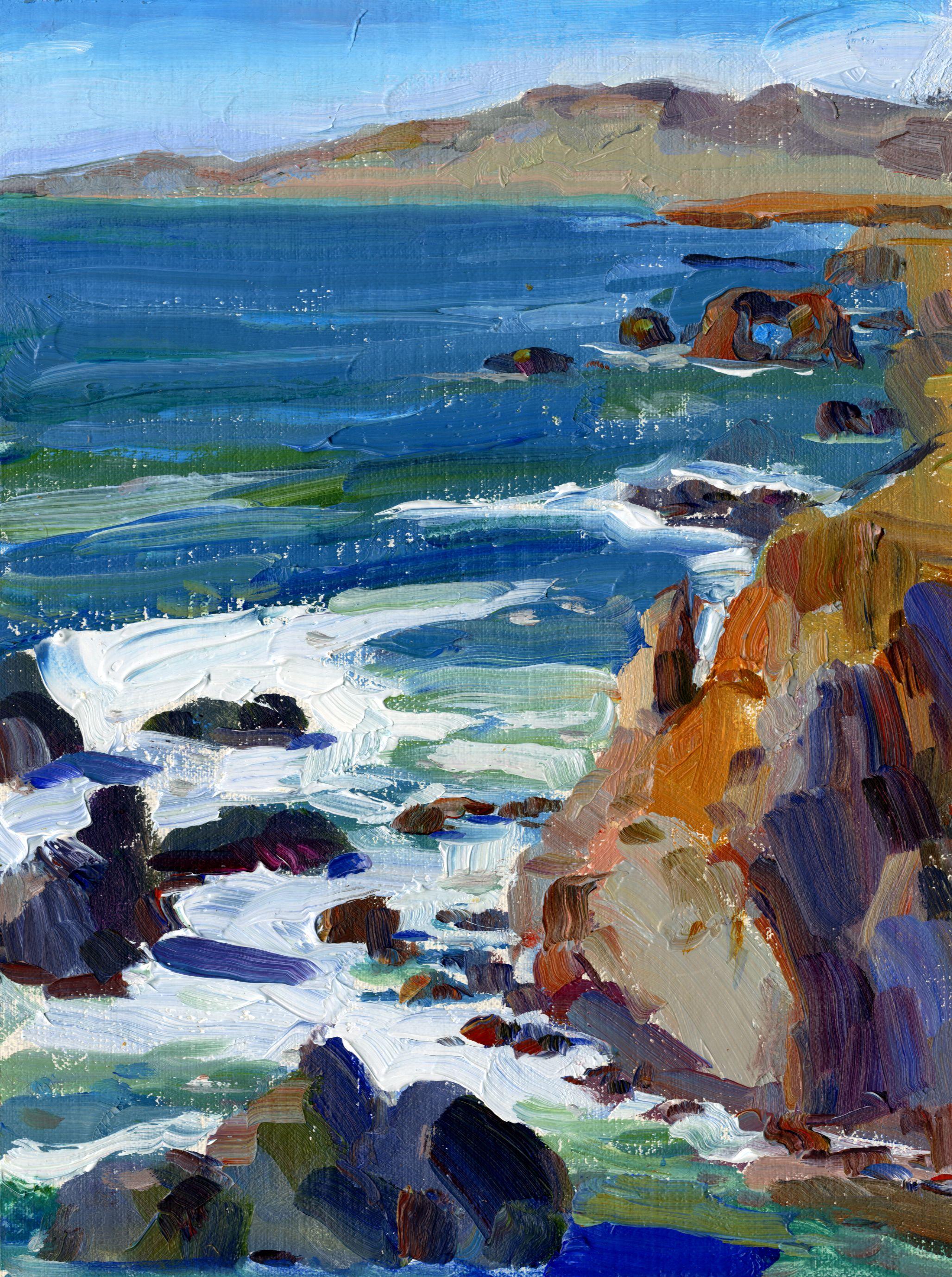Bodega bay ca 5 x 7 oil on panel sold ocean painting