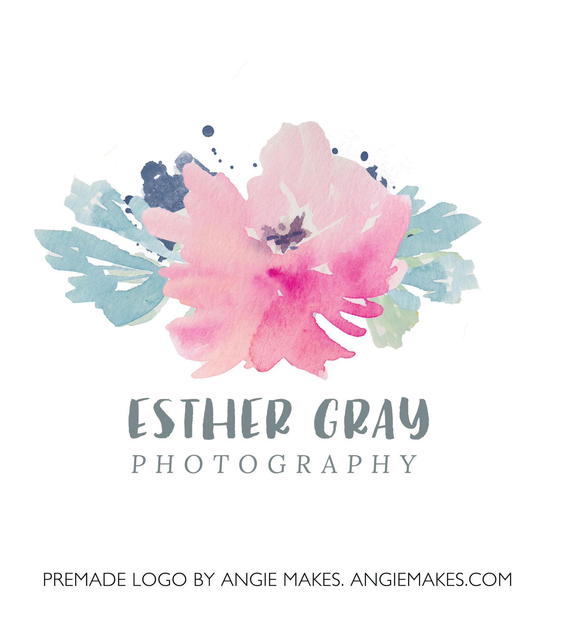Esther Watercolor Floral Logo Floral logo, Flower logo