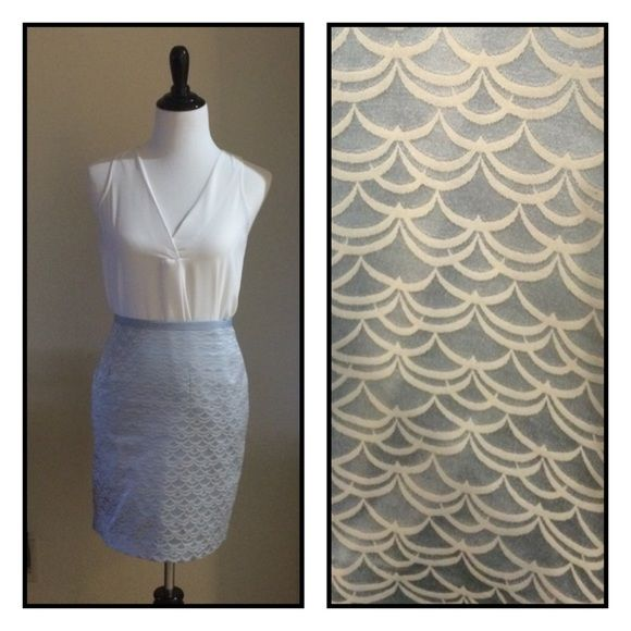 NEW! Blue & Cream shimmer Satin/Silk-like Skirt Never worn, tags removed, GORGEOUS pattern and quality. Shimmers. Pale light blue and cream color. Lined. Sz 6 or small. Please like and share. Thanks! SK Boutique H&M Skirts Pencil