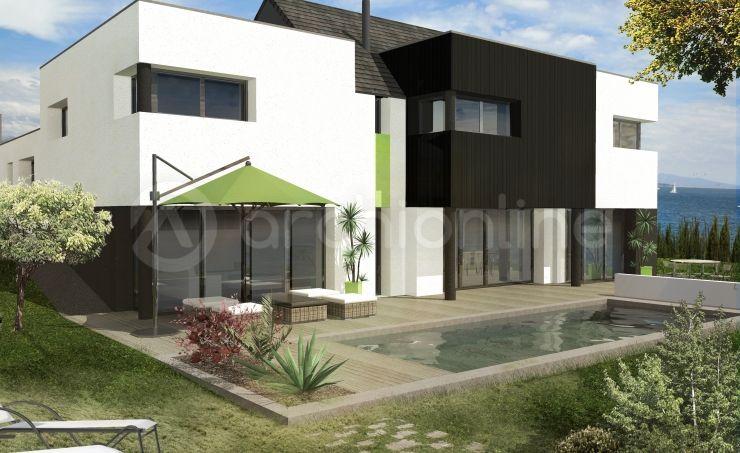 Maison Arauso - Plan de maison Moderne par Archionline #architecture - facade de maison moderne