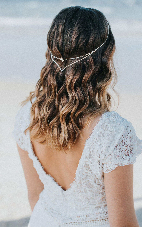 Bridal headpiece bridal hair chain wedding headband in