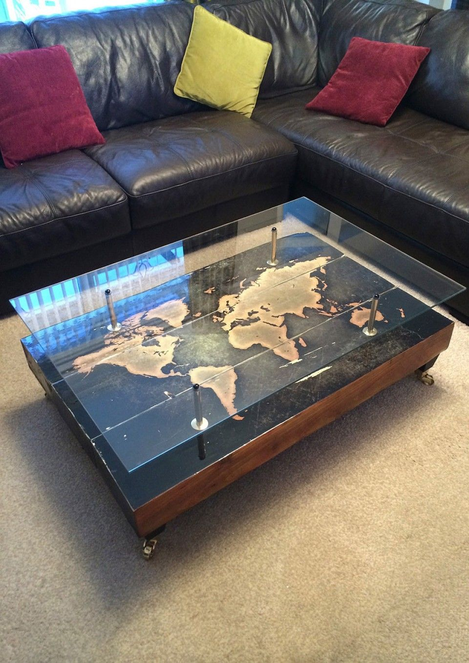 Add Character To Your Home With This Stunning 3 Piece Hand Distressed Antique World Map Coffee Table By Ca E Spada Eye Catching Imaged