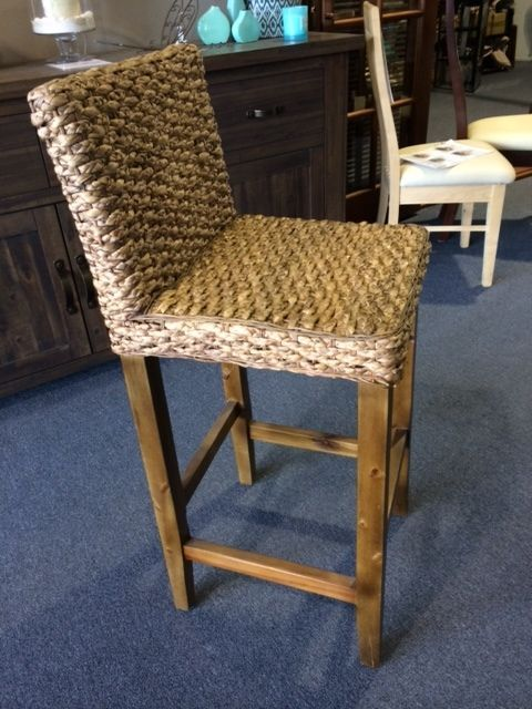 WATER HYACINTH BAR STOOLS, HIGH BACK, LARGE WEAVE, NEW