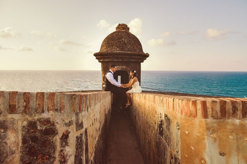 Puerto Rico Wedding Photographer Old San Juan Blue Water And Sunset