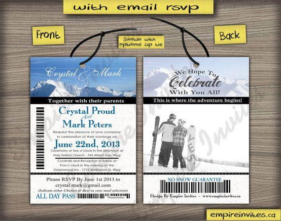 Invitation Cards Birthday as Skipass Apres Ski Snow Mountains Pass