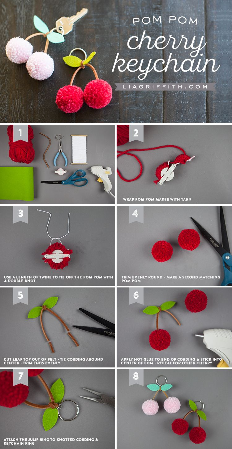 30af46fd5d3 Cherry Pom Pom DIY ~ Mary Wald s Place - Tutorial for making a cherry pom- pom keychain