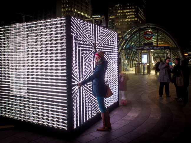 Interacting Led Art Installation Canary Warf