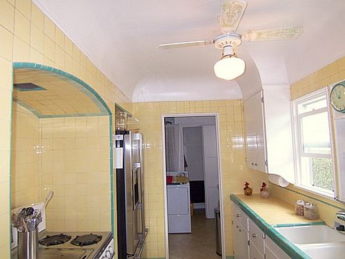 LA yellow and green tile kitchen | Tiled countertops | Pinterest ...