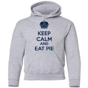 Tasty Threads Big Boys Keep Calm And Eat Pie Kids Hooded Sweatshirt