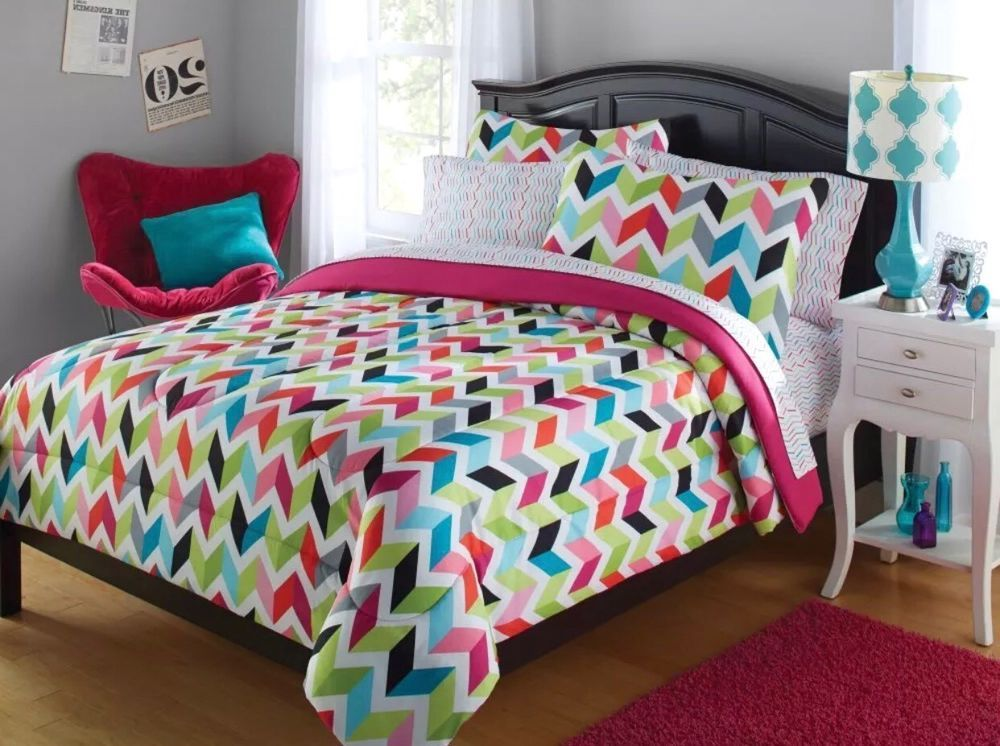 Twin Your Zone Multi Chevron 5 piece Coordinated Bedding