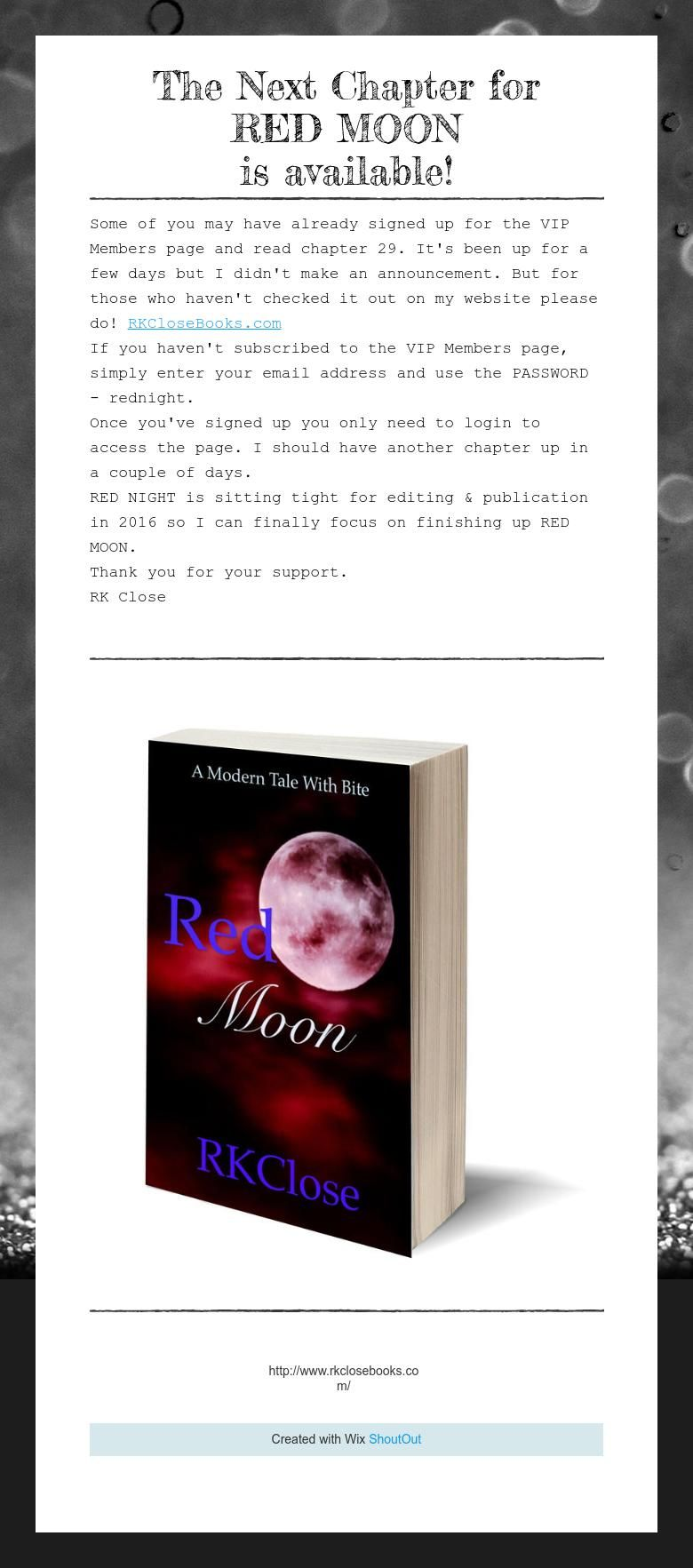 The Next Chapter for  RED MOON  is available!