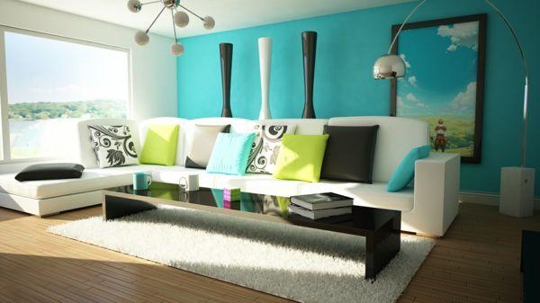 Farbideen Wohnzimmer Türkise Wand