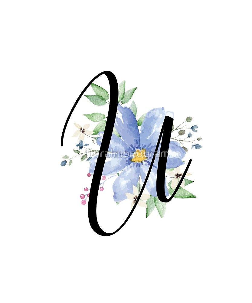 Monogram U Beautiful Watercolor Blue Flower Sticker By Floralmonogram In 2021 Blue Flowers Monogram Floral Monogram