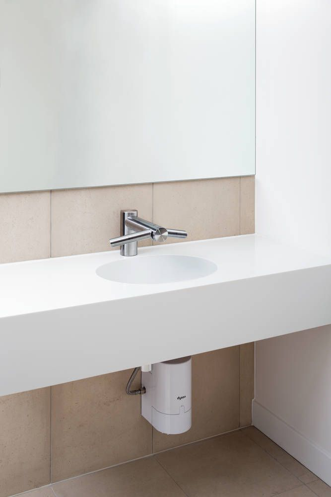 Airblade™ hand drying technology in a tap. Hands can be washed and ...