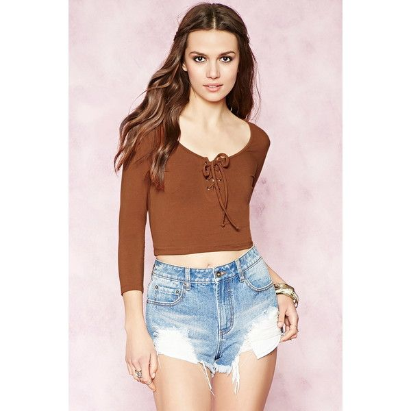 Forever 21 Women s Lace-Up Crop Top ( 9.90) ❤ liked on Polyvore featuring  tops 3bc91e650
