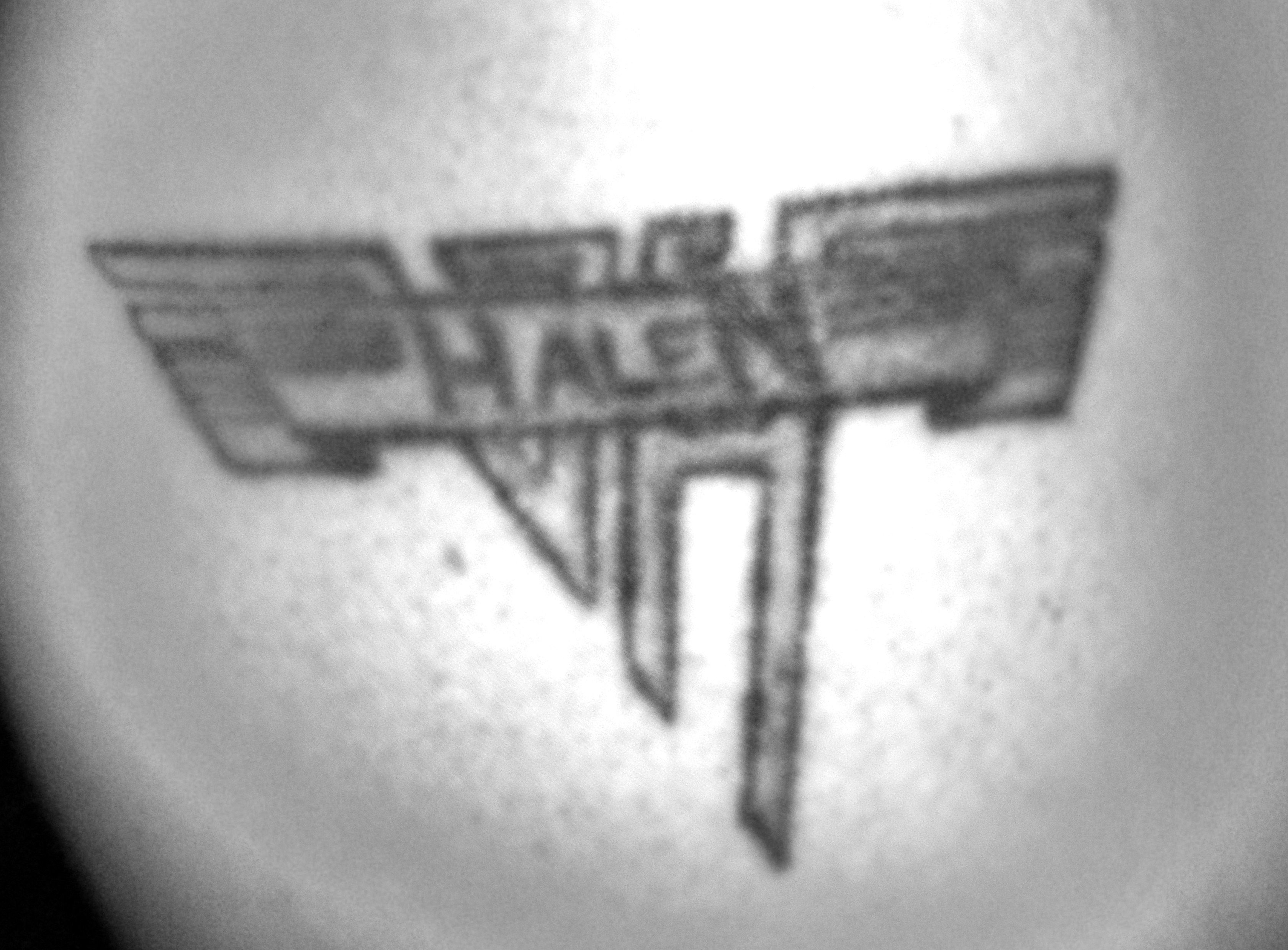 My Husband S Van Halen Tattoo Done In 1997 Our Son S Name Is Actually Halen He Is Our Soon To Be Aerospace Engineer Picture Tattoos Band Tattoo Van Halen