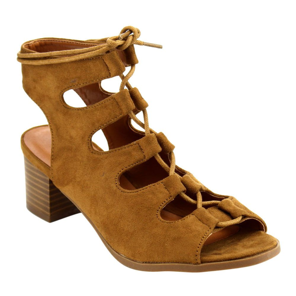 f6d4d69c283e Tan Lace Up Gladiator Sandals Low Heel Open Toe Block Heel Womens Shoes   X2B  LaceUps  Casual