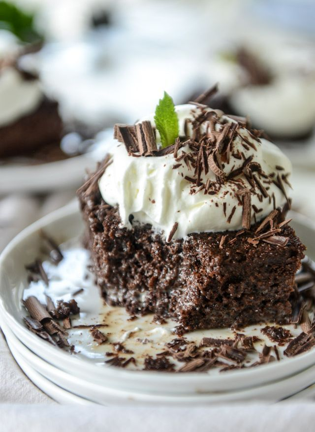 I have the chocolate cake to end all chocolate cakes.  Because it's simple, sort of quick, and get this – drenched in CHOCOLATE MILK.  It's not weird, I swear. And it should be on your menu next week