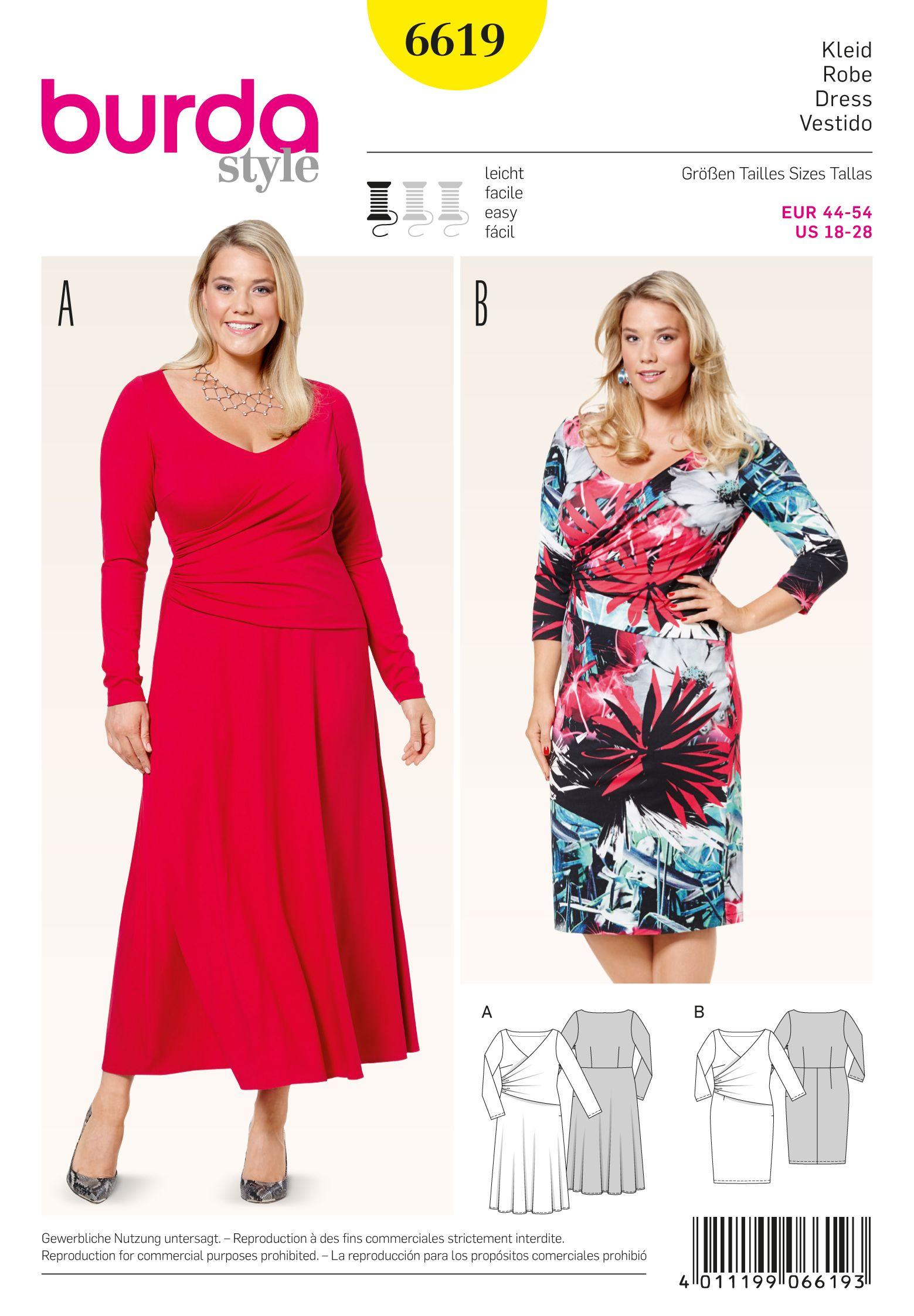 Burda 6619 Knit Dress Pattern Burda Style Sewing Dresses [ 2244 x 1559 Pixel ]