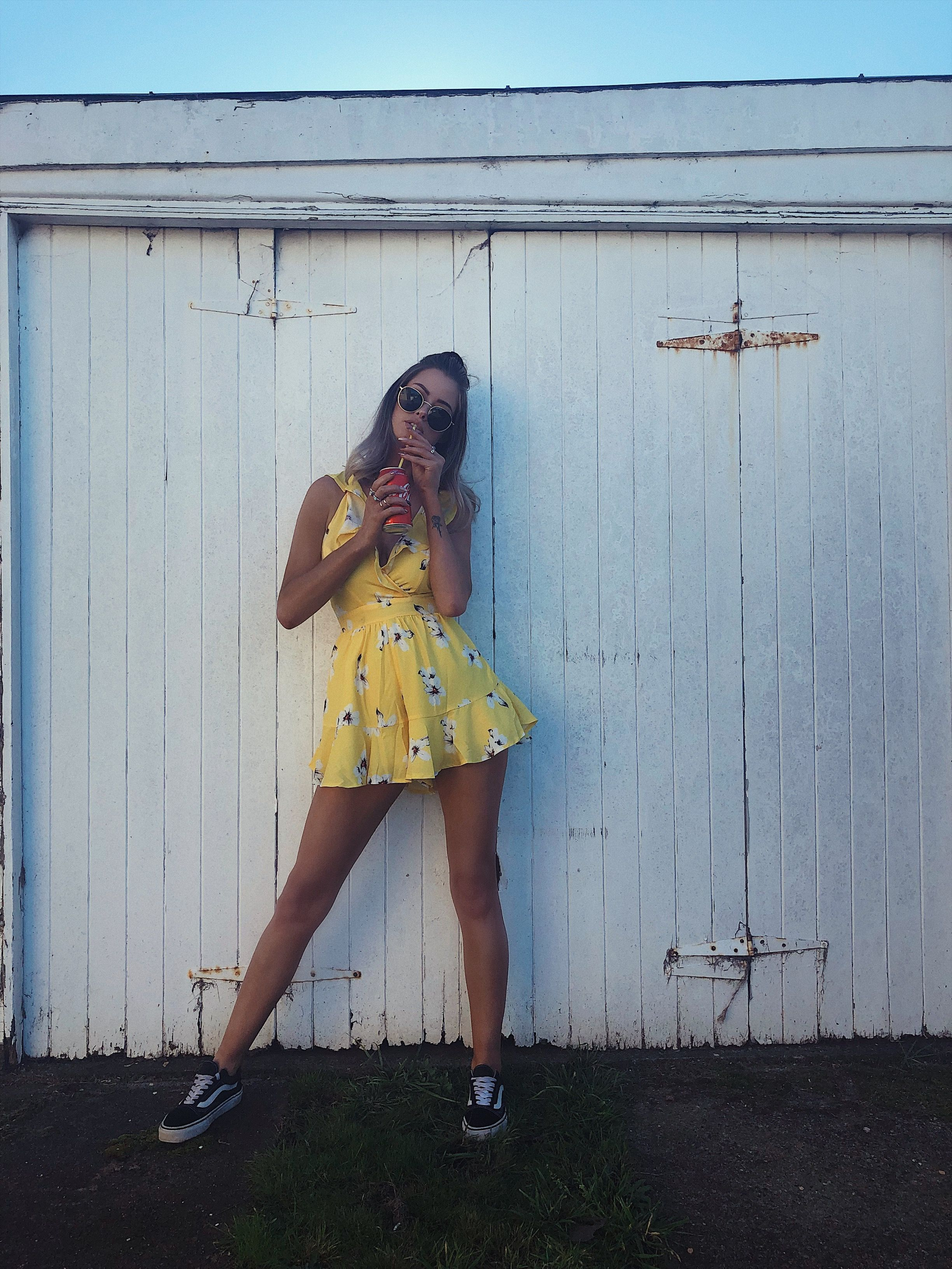 2dcbb15424 summer  yellow  playsuit  fashion  vans  ootd