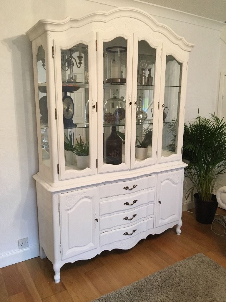 A Beautiful Display Cabinet Painted In Chalk Antique White A Lot