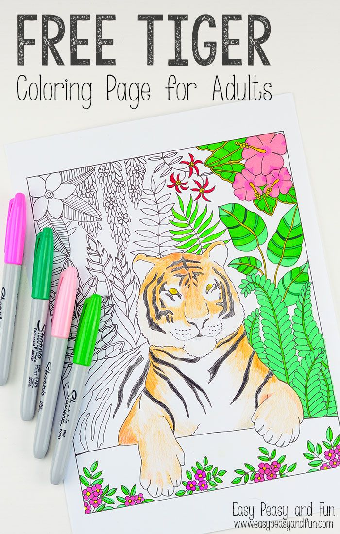 Tiger Coloring Page for Grown Ups | Colorear | Manualidades, Dibujos ...
