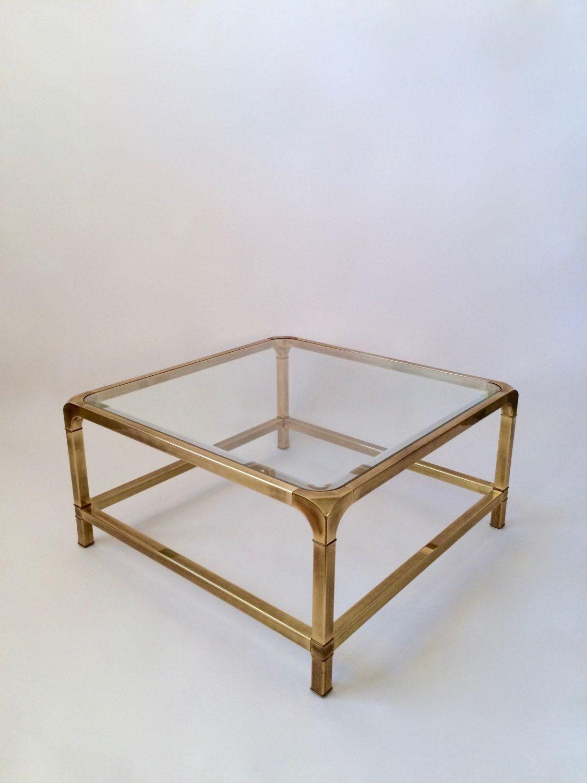 Vintage Mastercraft Brass Coffee Table Square Beveled Glass