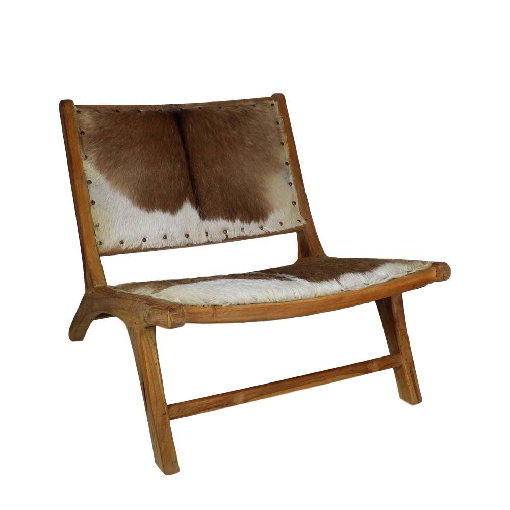 Design Stuhl mit Ziegenfell Bezug Weiß Braun Jetzt bestellen unter ...
