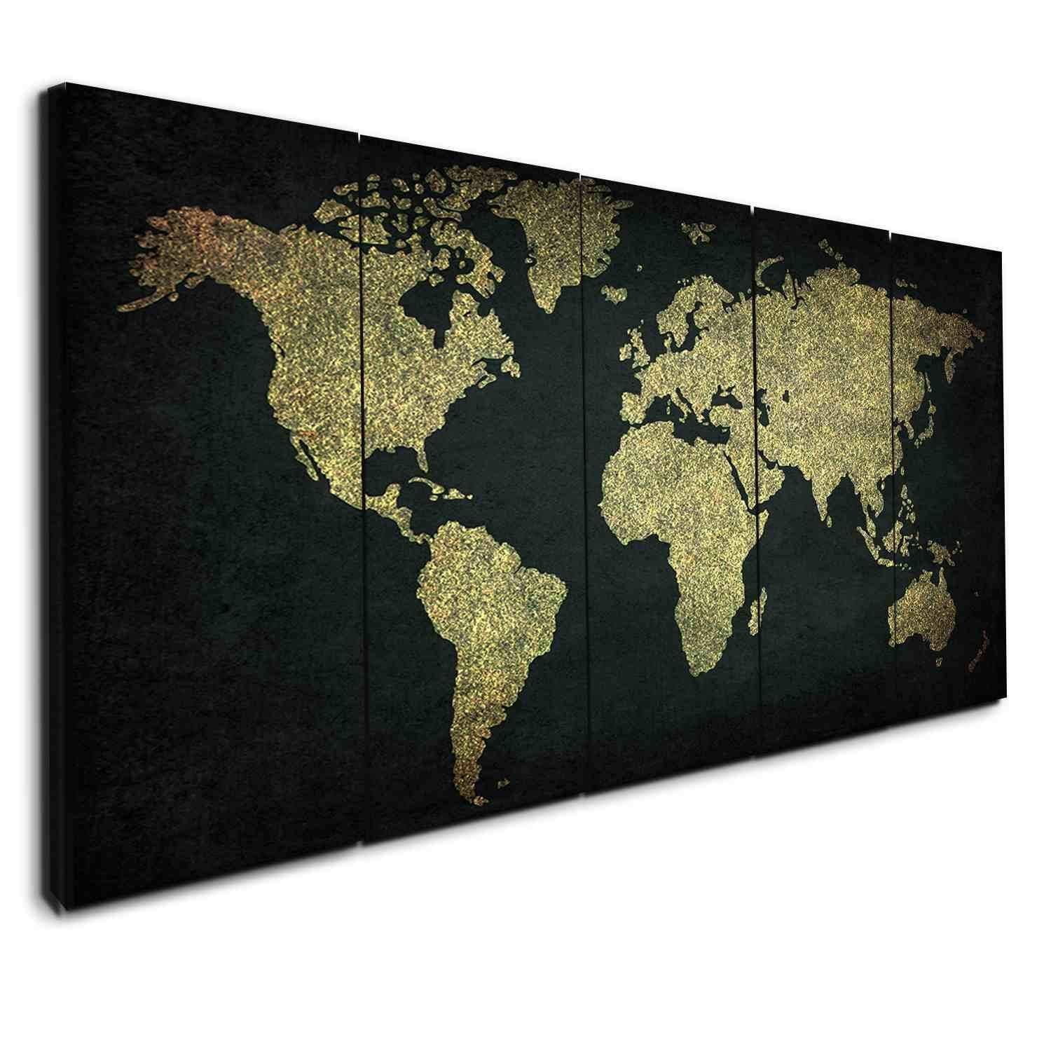 Green and gold world map canvases panel wall art and panel walls green and gold world map gumiabroncs Image collections