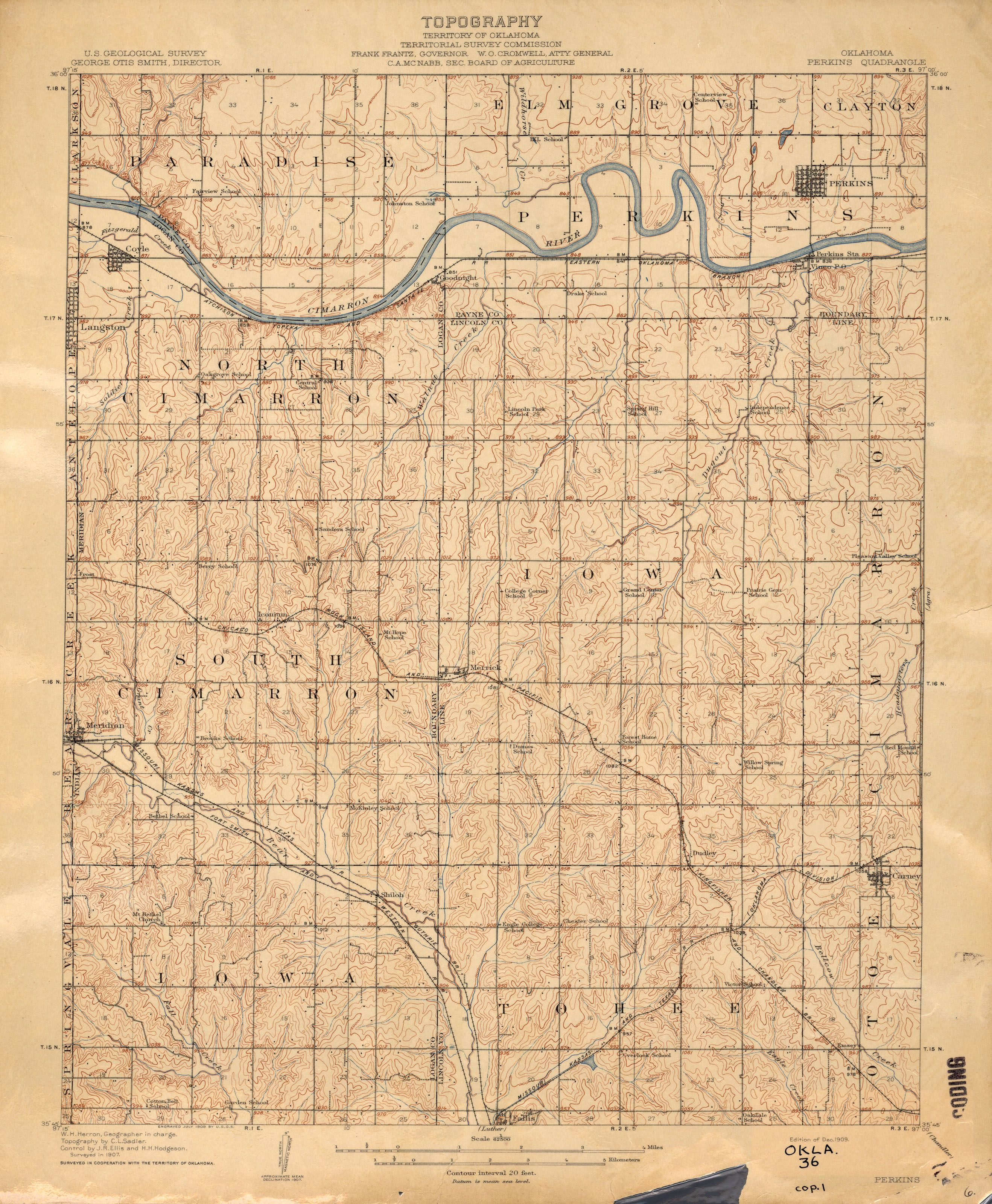 Indians In McLoud | Oklahoma Historical Topographic Maps   Perry