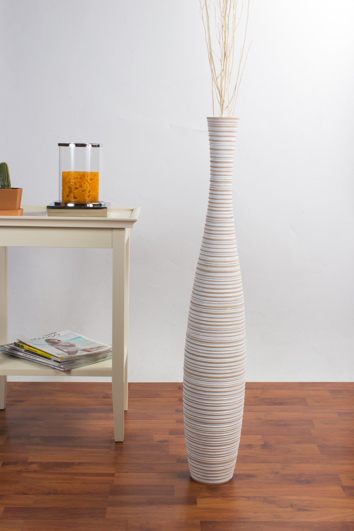 Tall Floor Vase 36 inches Wood White Check this awesome