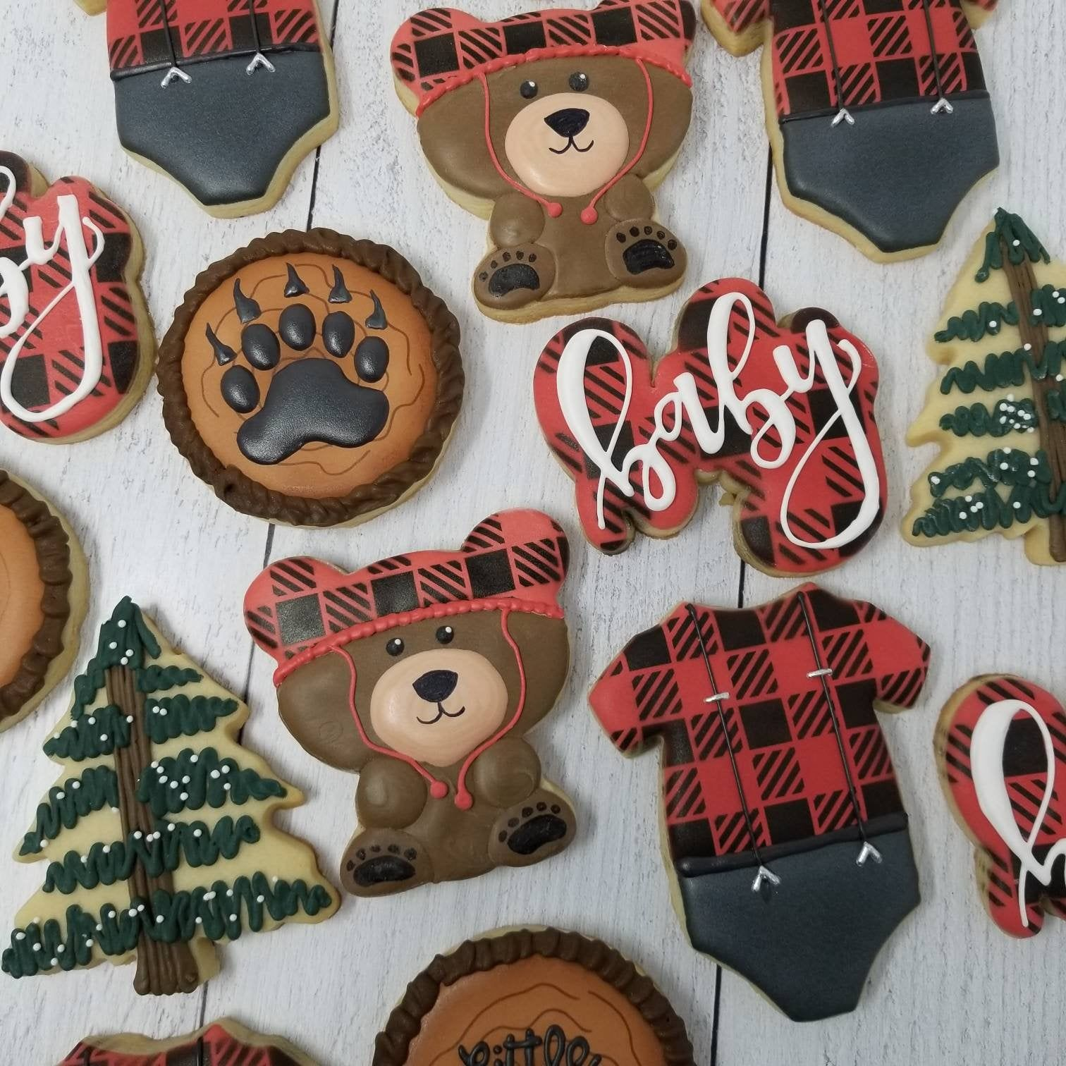 Buffalo Plaid Cookies   Baby Bear Onesie Pine Tree   Baby ...