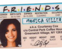 Id Identification Fake 1994 Friends Courtney Hit New The Halloween Cox … License York Costume Celebrity Courteney From Drivers Card Friends Tv Show