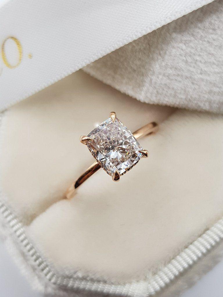 1.62 Carats Elongated Cushion Hidden Halo Diamond Engagement Ring