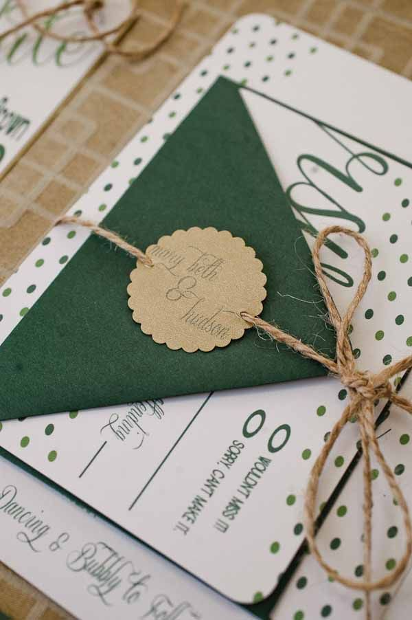 St. Patrick's Day wedding ideas #emerald #green [JJ Horton Photography for J.Leigh Events] // invitation set
