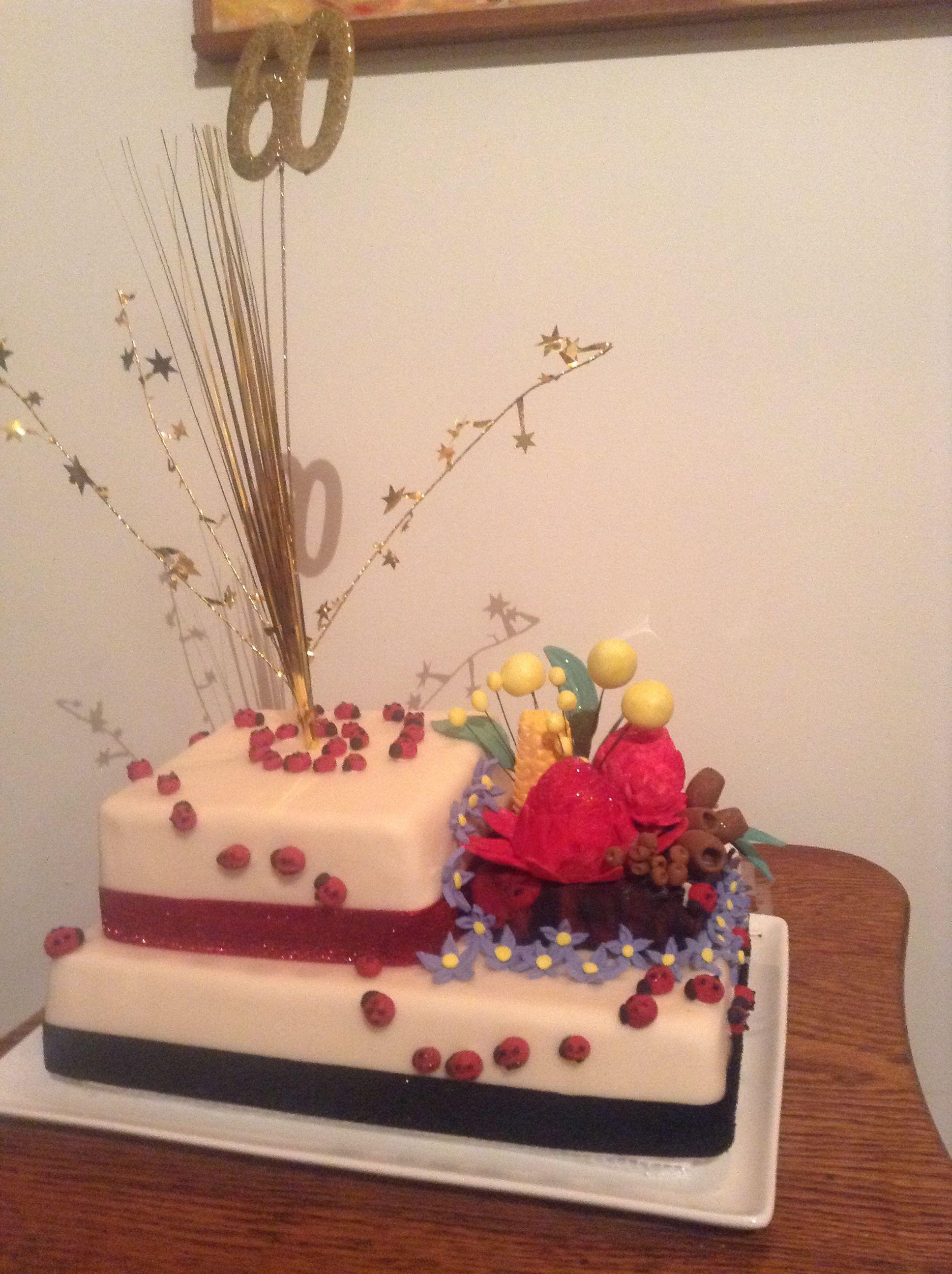 Fondant Aussie Native Flowers On 60th Birthday Cake Australian