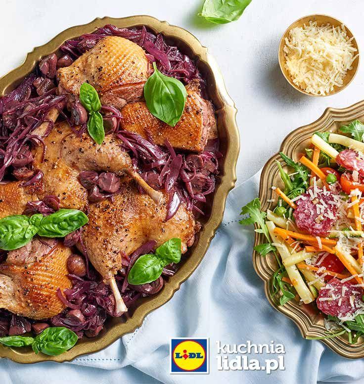 Kaczka W Sosie Pieczarkowo Szalotkowym Z Salatka Z Salami Z Orzechami Przepis Recipe Food Vegetable Pizza Vegetables