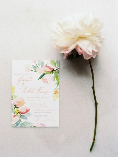 Floral wedding invitation: http://www.stylemepretty.com/2014/11/04/romantic-spring-hudson-valley-wedding/   Photography: Ashley Kelemen - http://ashleykelemen.com/