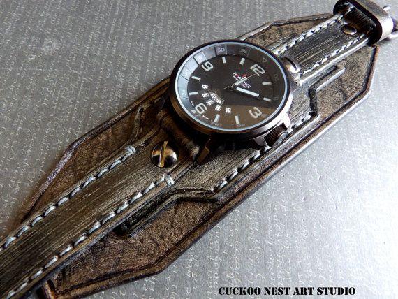 a4a5703583b0 Reloj brazalete de cuero hombres reloj reloj de pulsera de