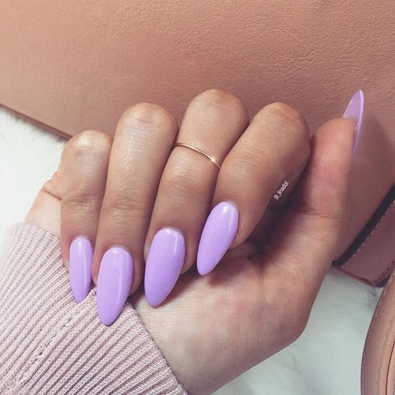 21 Almond Nail Ideas For Your Next Manicure Wild About Beauty Lavender Nails Purple Nails Almond Nails Designs