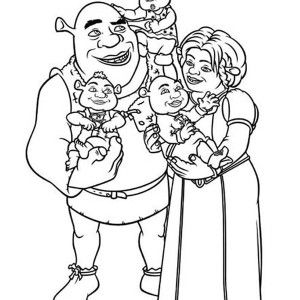 Shrek Shrek And Princess Fione With Their Babies Coloring Page Shrek And Princess Fione With Their In 2020 Baby Coloring Pages Cartoon Coloring Pages Coloring Pages