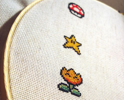 Mario item cross stitch | Nerdy Crafts | Cross stitch