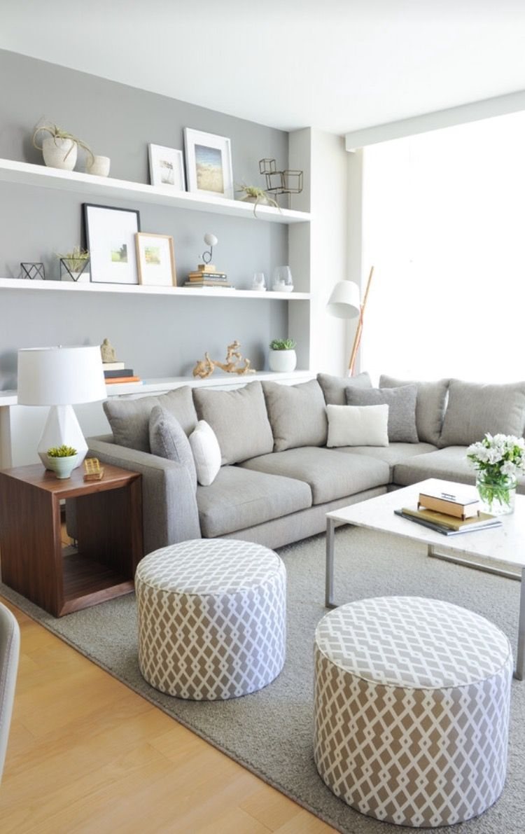 Simplistic Living Room With Built Ins For Detail And Decorative Pieces.  Scandinavian Living.