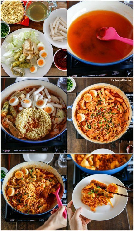 Korean spicy rice cake and ramen recipe