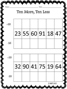 All Worksheets 10 more or 10 less worksheets : 1st Grade Fantabulous: Winter Fun Freebies | Teaching | Pinterest ...