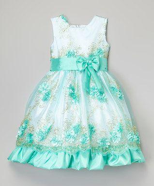 Turquoise & White Floral Dress - Infant, Toddler & Girls