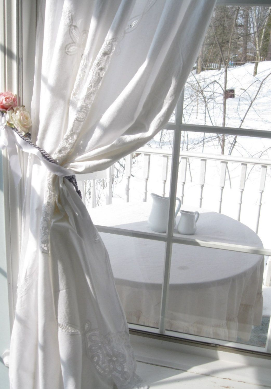 Battenburg Lace Curtain Window Dressing Shower Etsy Curtains