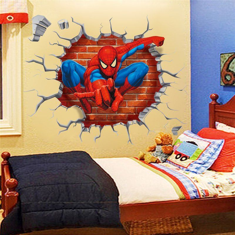 3D Spiderman through the wall stickers home decoration zooyoo1454 ...