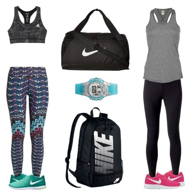 """""""Workout Buds"""" by claire394 ❤ liked on Polyvore featuring Jockey, Lucy, adidas, Mara Hoffman, NIKE and Timex"""